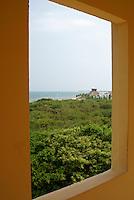 View of jungle and Caribbean coastline from Hacienda Tres Rios on the Riviera Maya, Quintana Roo, Mexico.