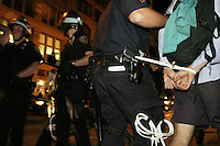 Police arrest protesters in New York City on August 31, 2004 during the Republican National Convention.  A group calling itself the A31 Action Coalition called for civil disobedience on a mass scale that day and many were summarily arrested.