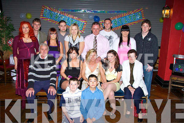 40TH: Catherine O'Brien of Tralee who celebrated her 40th Birthday with family and friends in the Abbey Gate Hotel, Tralee on Friday night. Front l-r: Padraig O'Brien and Paul Fitzgerald. Seated l-r: Michael Fitzgerald, Marguerite O'Brien, Catherine O'Brien (birthday lady), Stacey O'Brien and Joan Fitzgerald. Back l-r: Monica and Mike Fitzgerald, Charlene O'Sullivan, Raido and Nele Graverseson, Paul O'Shea, David Moriarty, Caroline Donovan and Jenny Fitzgerald......... ..............................   Copyright Kerry's Eye 2008