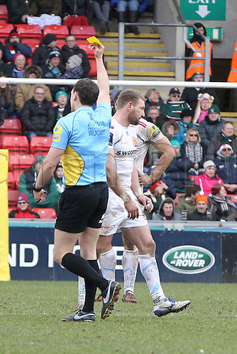 06.03.2016. Welford Road, Leicester, England. Aviva Premiership. Leicester Tigers versus Exeter Chiefs.  Exeter's winger Matt Jess takes out Tigers Freddie Burns in the air to  earn a yellow card from Referee Mathew Carley