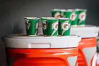 Gatorade cups in the dugout during a game between the Oklahoma City Dodgers and the Omaha Storm Chasers at Chickasaw Bricktown Ballpark on June 16, 2016 in Oklahoma City, Oklahoma. Oklahoma City defeated Omaha 5-4  (William Purnell/Four Seam Images)