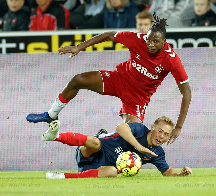 08.08.2019 FC Midtjylland v Rangers: Joe Aribo and Joel Andersson