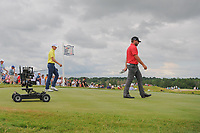 Jordan Spieth (USA) and Stephan Jaeger (GER) depart the 7th tee during Saturday's round 3 of the 117th U.S. Open, at Erin Hills, Erin, Wisconsin. 6/17/2017.<br /> Picture: Golffile | Ken Murray<br /> <br /> <br /> All photo usage must carry mandatory copyright credit (&copy; Golffile | Ken Murray)
