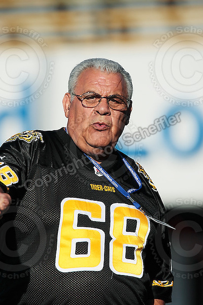 Aug 3, 2007; Hamilton, ON, CAN; Winnipeg Blue Bombers play the Hamilton Tiger-Cats at Ivor Wynne Stadium. The Tiger-Cats defeated the Blue Bombers 43-22. Mandatory Credit: Ron Scheffler. Pictured here is Hamilton Tiger-Cats legend Angelo Mosca.