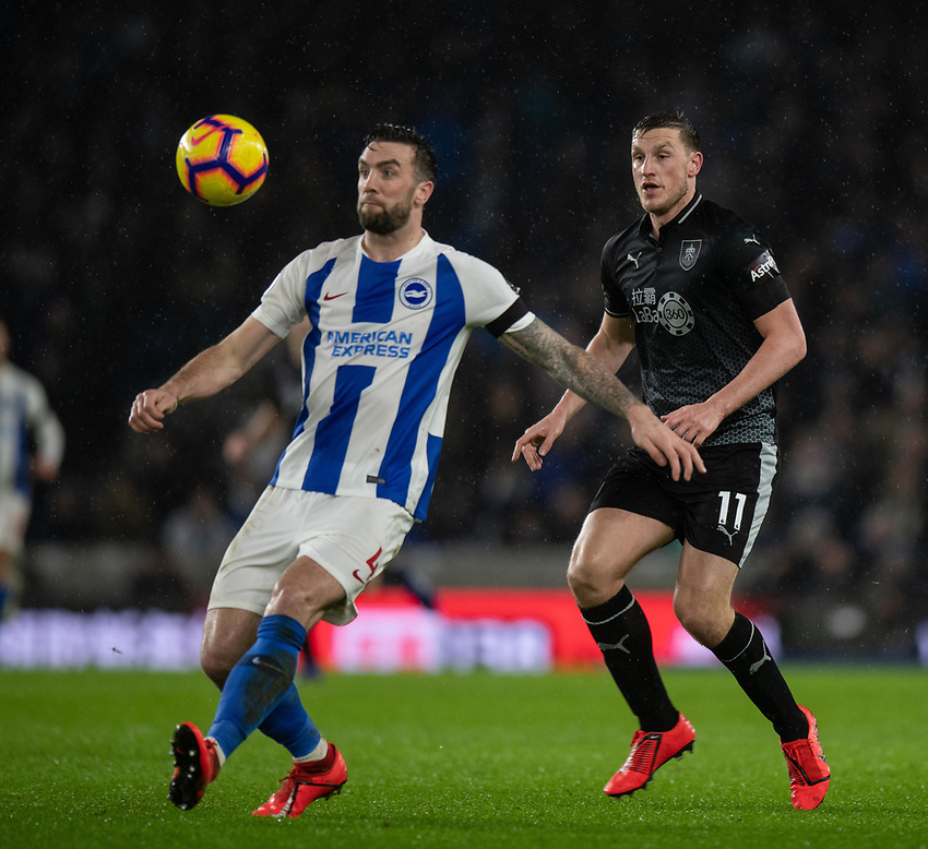 Brighton & Hove Albion's Shane Duffy (left) under pressure from Burnley's Chris Wood (right) <br /> <br /> Photographer David Horton/CameraSport<br /> <br /> The Premier League - Brighton and Hove Albion v Burnley - Saturday 9th February 2019 - The Amex Stadium - Brighton<br /> <br /> World Copyright © 2019 CameraSport. All rights reserved. 43 Linden Ave. Countesthorpe. Leicester. England. LE8 5PG - Tel: +44 (0) 116 277 4147 - admin@camerasport.com - www.camerasport.com