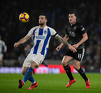 Brighton &amp; Hove Albion's Shane Duffy (left) under pressure from Burnley's Chris Wood (right) <br /> <br /> Photographer David Horton/CameraSport<br /> <br /> The Premier League - Brighton and Hove Albion v Burnley - Saturday 9th February 2019 - The Amex Stadium - Brighton<br /> <br /> World Copyright &copy; 2019 CameraSport. All rights reserved. 43 Linden Ave. Countesthorpe. Leicester. England. LE8 5PG - Tel: +44 (0) 116 277 4147 - admin@camerasport.com - www.camerasport.com