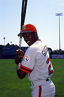 Harrisburg Senators outfielder Vladimir Guerrero prior to a game versus the New Haven Ravens at Yale Field in West Haven, Connecticut during the 1996 season.  (Ken Babbitt/Four Seam Images)