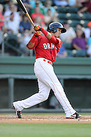 Javier Guerra (31) of the Greenville Drive bats in a game against the Rome Braves on Friday, June 12, 2015, at Fluor Field at the West End in Greenville, South Carolina. Guerra is the No. 13 prospect of the Boston Red Sox, according to Baseball America. (Tom Priddy/Four Seam Images)