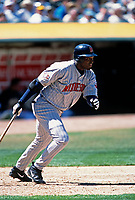 OAKLAND, CA - David Ortiz of the Minnesota Twins bats during a game against the Oakland Athletics at the Oakland Coliseum in Oakland, California in 2001. (Photo by Brad Mangin)