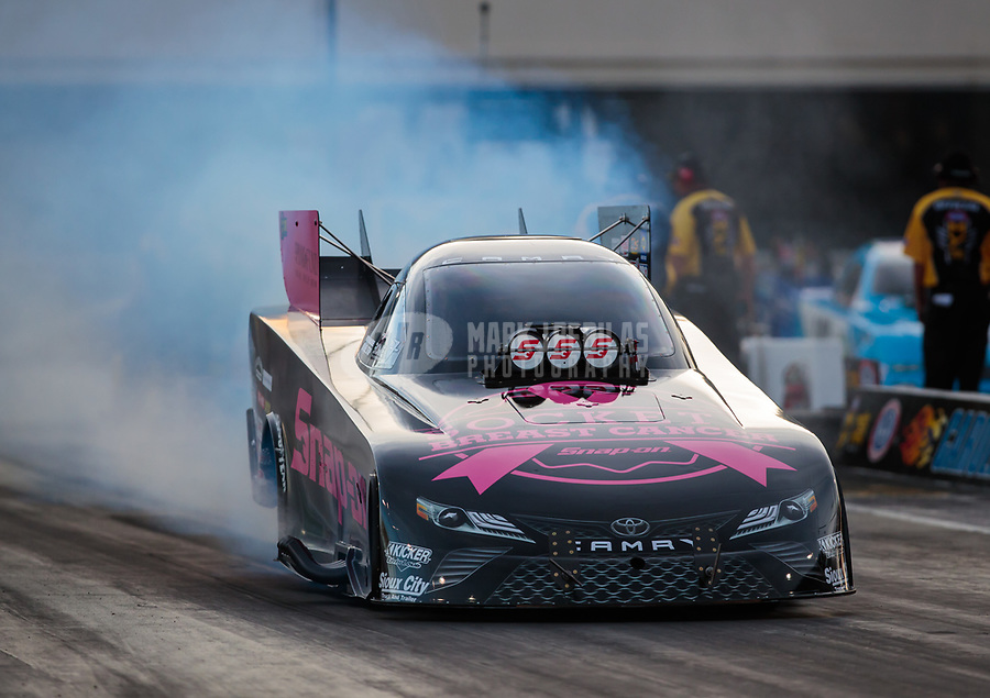 Oct 12, 2018; Concord, NC, USA; NHRA funny car driver Cruz Pedregon during qualifying for the Carolina Nationals at zMax Dragway. Mandatory Credit: Mark J. Rebilas-USA TODAY Sports