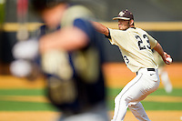 Wake Forest Demon Deacons relief pitcher Michael Dimock #23 in action against the Georgia Tech Yellow Jackets at Wake Forest Baseball Park on April 15, 2012 in Winston-Salem, North Carolina.  The Demon Deacons defeated the Yellow Jackets 11-3.  (Brian Westerholt/Four Seam Images)