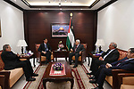 Palestinian President Mahmoud Abbas meets with a head of Denmark representation office, at his headquarter, in the West Bank city of Ramallah, on August 16, 2017. Photo by Thaer Ganaim
