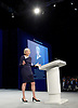 Conservative Party Conference <br /> Manchester, Great Britain <br /> Day 3<br /> 6th October 2015 <br /> <br /> Theresa May MP <br /> Home Secretary speech <br /> <br /> <br /> <br /> Photograph by Elliott Franks <br /> Image licensed to Elliott Franks Photography Services