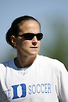 Carla Overbeck, Duke assistant coach, on Sunday, October 16th, 2005 at Duke University's Koskinen Stadium in Durham, North Carolina. The Duke University Blue Devils defeated the University of Maryland Terrapins 1-0 during an NCAA Division I Women's Soccer game.
