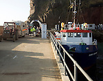 Ferry docked at Maseline Harbour, Island of Sark, Channel Islands, Great Britain