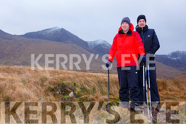 Niall Dennehy Glenflesk left (with Pat Sheehan) who has lost ten stone in the last year in training for his climb of Kilimanjero in the McGillicddy Reeks on Sunday morning