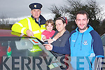 LEARNER DRIVERS: Sgt Gearoid Keating explaining the Road Policing Operation Plan 2012 to Makayla and Laura Roche and Mark Byrne from Ballyheigue with national focus on learner drivers on 1st and 2nd of March.