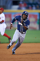 New Hampshire Fisher Cats left fielder Dwight Smith Jr. (25) running the bases during a game against the Harrisburg Senators on June 2, 2016 at FNB Field in Harrisburg, Pennsylvania.  New Hampshire defeated Harrisburg 2-1.  (Mike Janes/Four Seam Images)