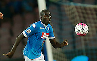 Napoli's Kalidou Koulibaly  during the  italian serie a soccer match against    Juventus,    at  the San  Paolo   stadium in Naples  Italy , September 26 , 2015