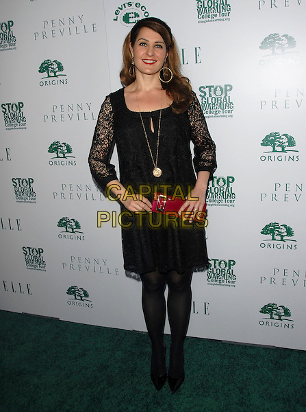 NIA VARDALOS .Attends The Elle is Going Green Party and Concert held at Boulevard3 in Hollywood, California, USA..April 5th, 2007 .full length black lace dress red clutch purse .CAP/DVS.©Debbie VanStory/Capital Pictures