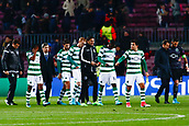 5th December 2017, Camp Nou, Barcelona, Spain; UEFA Champions League football, FC Barcelona versus Sporting Lisbon; Sporting Lisbon applaud their supporters after they suffer elimination from the tournament