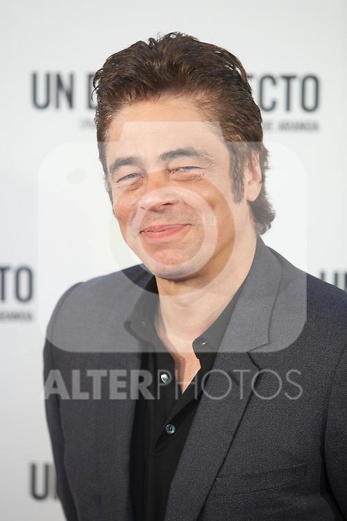 Puerto Rican actor Benicio del Toro poses during the `A Perfect Day´ (Un dis perfecto) film presentation in Madrid, Spain. August 25, 2015. (ALTERPHOTOS/Victor Blanco)