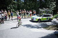 maglia rosa Alberto Contador (ESP/Tinkoff-Saxo) puts on a solo attack up the Monte Ologno (1168m) and puts another minute into his nearest competitors in the GC<br /> <br /> Giro d'Italia 2015<br /> stage 18: Melide (SUI) - Verbania (170km)