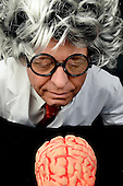 Genius professor with brain
