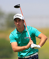 Nino Bertasio (ITA) on the 1st tee during Round 1 of the Challenge de Madrid, a Challenge  Tour event in El Encin Golf Club, Madrid on Wednesday 22nd April 2015.<br /> Picture:  Thos Caffrey / www.golffile.ie
