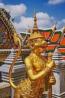 Apsonsi, a mythical creatrue half woman and half lion, Upper Terrace, Wat Phra Kaeo, Bangkok, Thailand.