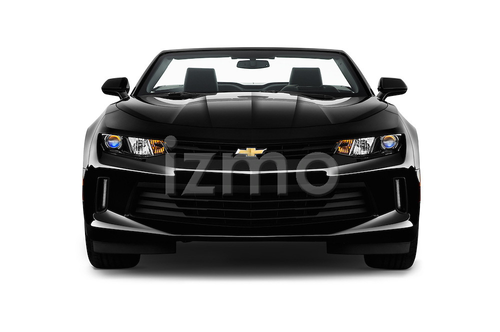 Car photography straight front view of a 2017 Chevrolet Camaro 2LT 2 Door Convertible Front View
