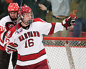 Alex Fallstrom (Harvard - 16) - The Harvard University Crimson defeated the St. Lawrence University Saints 4-3 on senior night Saturday, February 26, 2011, at Bright Hockey Center in Cambridge, Massachusetts.