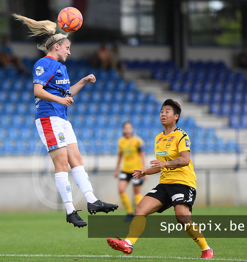 20190807 - DENDERLEEUW, BELGIUM : LSK's Meryll Abrahamsen pictured watching the heading Linfield's Kelsie Burrows during the female soccer game between the Norwegian LSK Kvinner Fotballklubb Ladies and the Northern Irish Linfield ladies FC , the first game for both teams in the Uefa Womens Champions League Qualifying round in group 8 , Wednesday 7 th August 2019 at the Van Roy Stadium in Denderleeuw  , Belgium  .  PHOTO SPORTPIX.BE for NTB  | DAVID CATRY