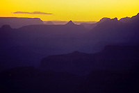Yellow sunset sky over Grand Canyon national Park, Arizona, USA