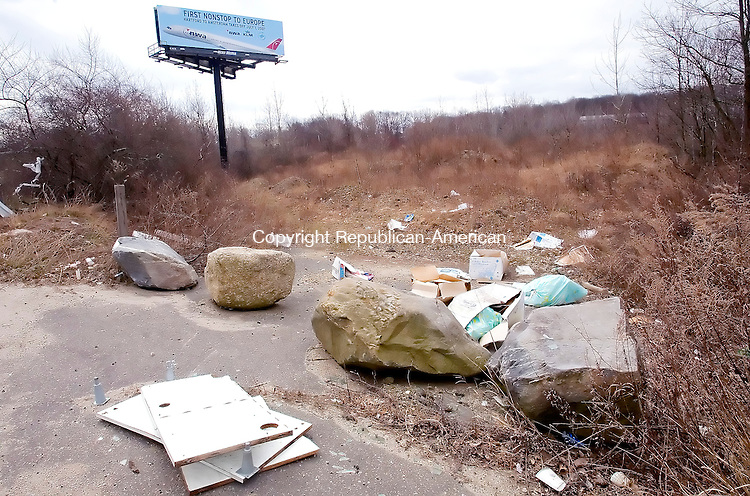 WATERBURY, CT. 10 April 2007-041007SV13--Trash and other junk sit along side the road on Captain Neville Drive in Waterbury.<br /> Steven Valenti Republican-American