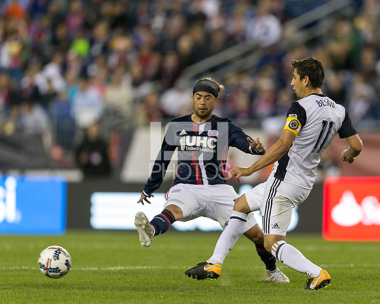 Foxborough, Massachusetts - July 29, 2017: First half action. In a Major League Soccer (MLS) match, New England Revolution (blue/white) vs Philadelphia Union (white), at Gillette Stadium.