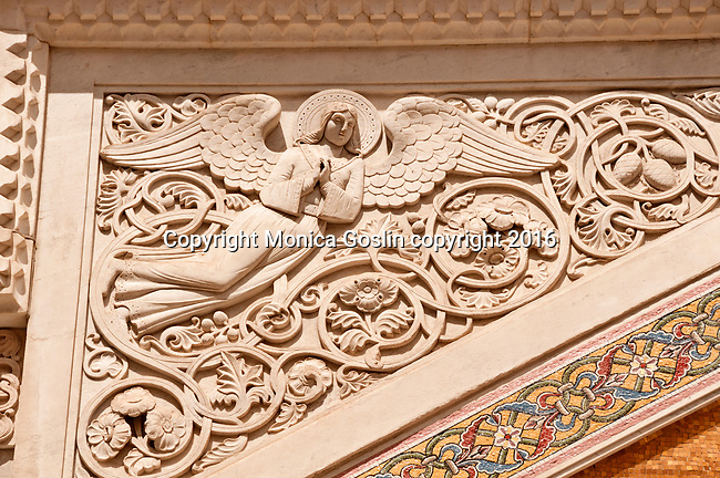 Detail of an angel on the facade of the Serbian Orthodox Saint Spyridon Church, mid 19th century in Trieste, Italy