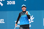 Riko Hayashida (JPN), <br /> AUGUST 30, 2018 - Soft Tennis : <br /> Mixed Doubles  Semi-final <br /> at Jakabaring Sport Center Tennis Courts <br /> during the 2018 Jakarta Palembang Asian Games <br /> in Palembang, Indonesia. <br /> (Photo by Yohei Osada/AFLO SPORT)