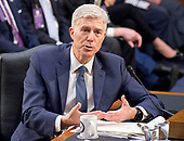 Judge Neil Gorsuch testifies before the United States Senate Judiciary Committee on his nomination as Associate Justice of the US Supreme Court to replace the late Justice Antonin Scalia on Capitol Hill in Washington, DC on Wednesday, March 22, 2017.<br /> Credit: Ron Sachs / CNP