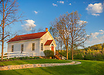 Iowa County, WI: Sunset light on Hyde Chapel, built in 1861, listed in the National Registry of Historic Places