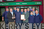 After 46 years of service Mike Carey from Scarteen Park in Kenmare and Keel Castlemaine has retired as postman for the Kenmare region. He was joined in his retirement celebrations last week by his colleagues down through the years. .Back L-R Dan McCarthy, Brian O'Sullivan, Richard O'Sullivan, Ted O'Shea and Liam Hartnett. .Front L-R Kenmare Postmaster John O'Sullivan,  Mike Carey, John Fintan District Service Manager with An Post, Kitty Doyle and Pat O'Sullivan