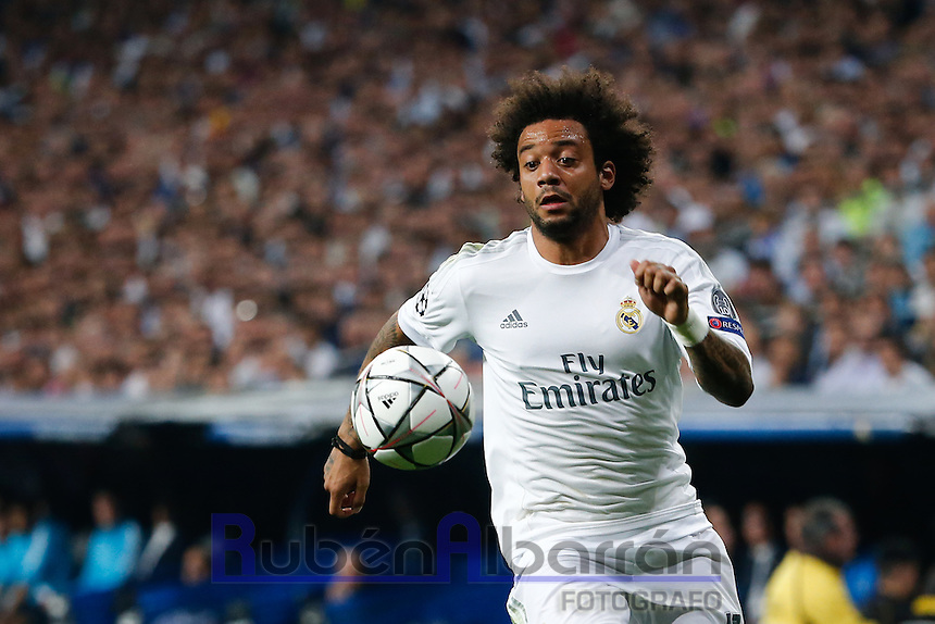 Real Madrid's Brazilian defense Marcelo during the UEFA Champions League match between Real Madrid and Manchester City at the Santiago Bernabeu Stadium in Madrid, Wednesday, May 4, 2016.
