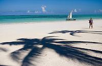 Afrique/Afrique de l'Est/Tanzanie/Zanzibar/Ile Unguja/Kiwenga: la plage et les boutres des pécheurs - Ombre de palmier et couple de touristes