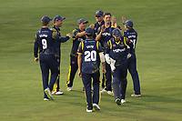 Craig Meschede of Glamorgan celebrates with his team mates after taking the wicket of Paul Walter during Glamorgan vs Essex Eagles, Vitality Blast T20 Cricket at the Sophia Gardens Cardiff on 7th August 2018
