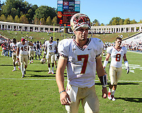 Oct 2, 2010; Charlottesville, VA, USA; Florida State Seminoles quarterback Christian Ponder (7) walks off the field after the 34-14 win over the Virginia Cavaliers at Scott Stadium. Florida State won 34-14.  Photo/The Daily Progress/Andrew Shurtleff