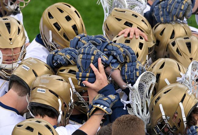 Apr. 2, 2011; The Notre Dame Men's Lacrosse huddles before a game...Photo by Matt Cashore/University of Notre Dame