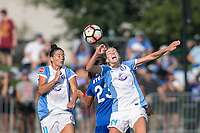 Allston, MA - Saturday August 19, 2017: Ali Krieger, Katie Stengel, Alanna Kennedy during a regular season National Women's Soccer League (NWSL) match between the Boston Breakers and the Orlando Pride at Jordan Field.