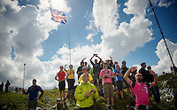 fans on top of Holme Moss Hill (521m/4.7km/7%)<br /> <br /> 2014 Tour de France<br /> stage 2: York-Sheffield (201km)