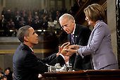 United States President Barack Obama shakes hands with Vice President Joe Biden and Speaker of the U.S. House Nancy Pelosi (Democrat of California) at the conclusion of his State of the Union address, Wednesday, January 27, 2010..Mandatory Credit: Pete Souza - White House via CNP