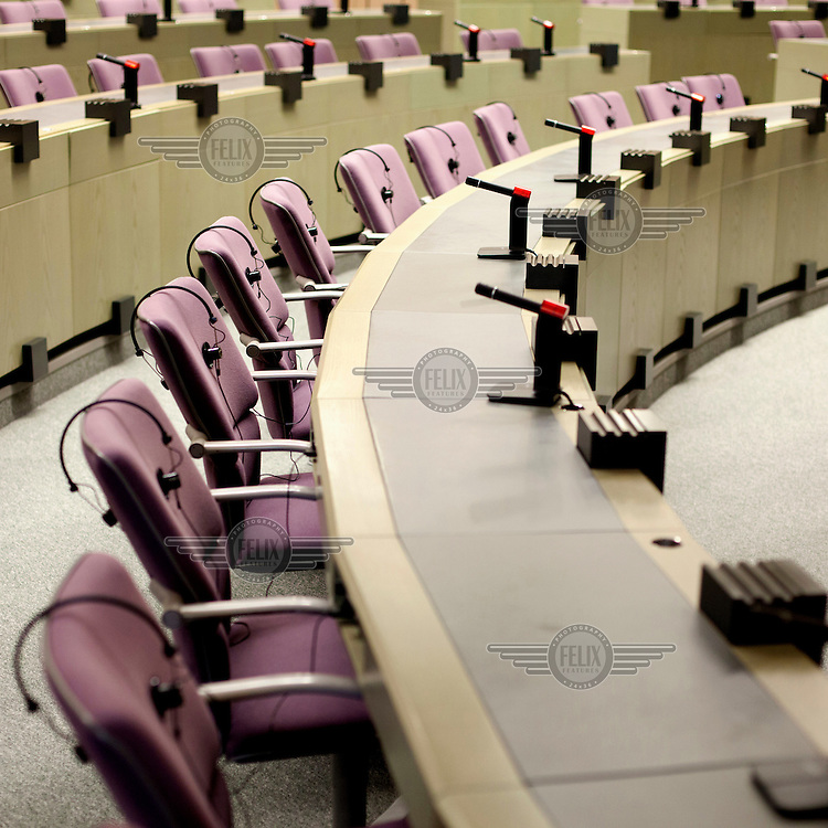 One of the session halls at the European Parliament prior to the arrival of thousands of the parliament's employees who travel between the three sites of government in Brussels, Strasbourg and Luxembourg.